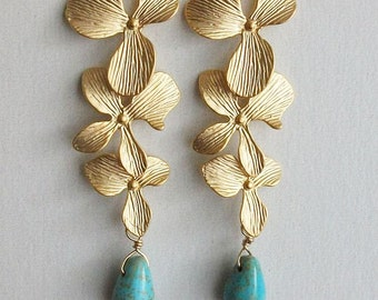 Turquoise Orchid Earrings, Orchid Earrings, turquoise Earrings - Gift for Christmas, Holiday, Birthday, Wedding, Bridesmaids