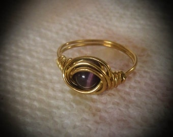 Wire Wrapped Brass Dark Purple Cats Eye Ring size 5 1/2