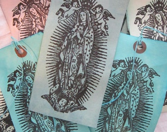 12 large handmade gift tags - hand dyed, GUADALUPE - our lady of AQUA - 3 x 6 inches