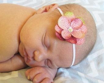 "Pink Flower Skinny Elastic Headband, Newborn Headband, Baby headband, Skinny Headband, 1/8"" Skinny Elastic Headband"