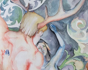 Mating Dance Fantasy Original Fawn and Buck Nude watercolor painting Pegan Unframed 18x24