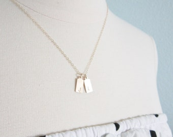 Little tags necklace, gold filled, delicate modern jewelry