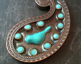 Turquoise Bird and Gems in Copper Paisley Necklace