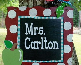 Charming Chalkboard Finish Wood Teacher Door Hanger