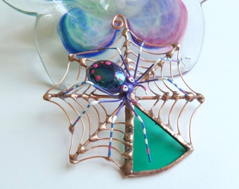 Spider Web Pendant with Colorful Spider Perfect Gift for Entomologists and Bug Lovers