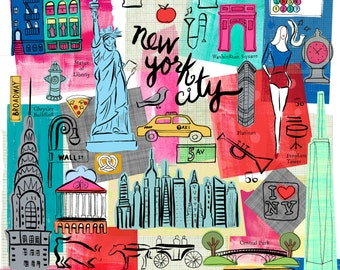 New York City, NYC, Manhattan Wall art, Print, icons, modern, illustration, Global City,Home decor  by Farida Zaman
