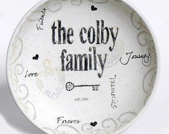Personalized Pottery Family Name Bowl, Ceramic Bowl Personalized with Family Name, Home and Housewarming, Real Estate Closing & Settlement