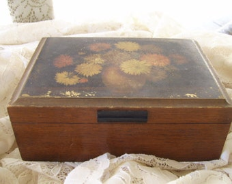 Antique/Vintage Shabby Floral Design Mirrored Jewelry Trinket Treasure Wood Box
