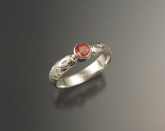 Orange Sapphire Wedding engagement ring Sterling Silver Victorian bezel set Padparadscha ring made to order in your size
