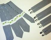 Wedding Set:  Tie & Adjustable Suspenders - in Navy Gingham Design, Choose your size.