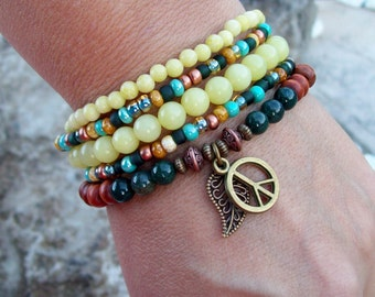 Peace - Olive New Jade and Fancy Jasper - Beaded Stretch Bracelets with charms - Hippie