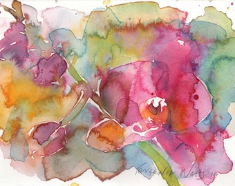 Orchid Watercolor Signed Print