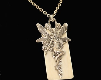 Upcycled Antique Piano Key Necklace Fairy Necklace Fantasy Fairy Pendant