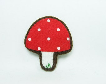 Tiny mushroom felt pin - made to order