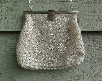 Dainty Vintage Cream and Silver Evening Purse