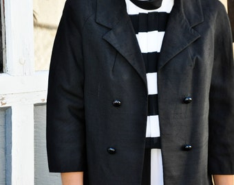 Adorable Black Tweed Silk MOD Cardigan Coat Jacket