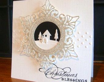Square Christmas Card with House & Trees Scene