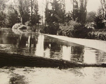 Vintage 1960's Black & White Photo - River at Canonica, Bergamo, Italy