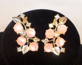 Vintage Signed Pink Coro Earrings with Clear Rhinestones