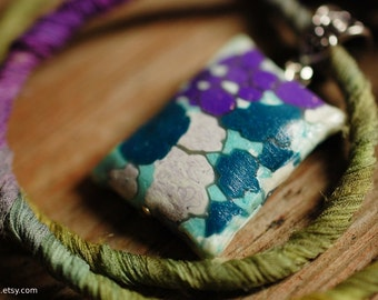 SALE - Clouds necklace  - handmade polymer clay pendant in turquoise and purple with moss green and purple fiber cord