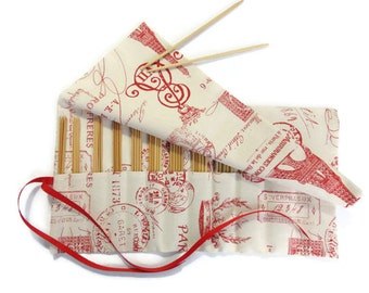 Knitting  Needle Case DPN Organizer Red French Toile Roll Up Double Point Needle Storage 12 Pockets Roll Up Ribbon Closure