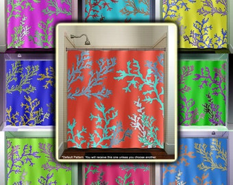 Coral curtains on etsy a global handmade and vintage for Coral reef bathroom decor