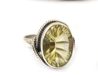 Yellow lemon ring, gemstone ring, sterling silver jewelry, metalwork fine jewelry, retro ring, US 6.5