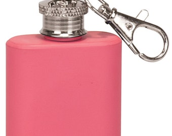 Stainless Steel Key Chain Flask - 1 oz -- Personalized -- (1 Pc) Perfect for Groomsmen and/or Bridesmaid Gifts