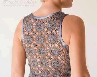Grey Tank Top with upcycled vintage hand dyed crochet back - Size M