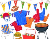 Tailgate Party Clipart - Commercial Use OK - Football Graphics, Football Clipart - Football Jersey - Cookout