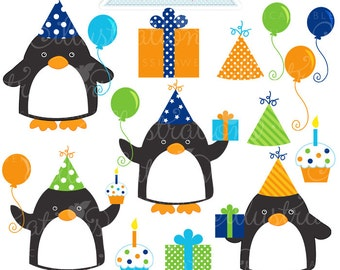 Birthday Boy Penguins V2 Cute Digital Clipart for Commercial or Personal Use, Birthday Clipart, Birthday Graphics