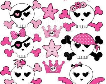 Sweet Skulls Cute Digital Clipart - Commercial Use OK - Pink Skull Crossbones Clipart, Girls Skull & Crossbones Graphics