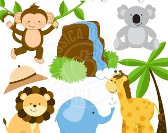 Safari Time Cute Digital Clipart - Commercial Use OK - Safari Animal Clipart, Jungle Animal Clipart