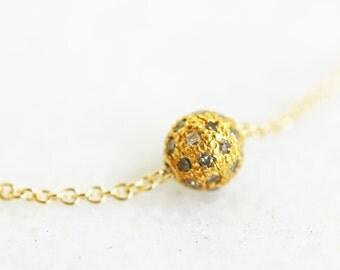 Gold Pave Ball Minimalist Raw Champagne Diamond Necklace Gold