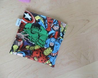 Large Avenger Incredible Hulk Reusable Snack Sandwich Baggie Bag with water resistant lining