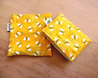 Md/ Sm Bees Reusable Snack Sandwich Bag Set with water resistant lining