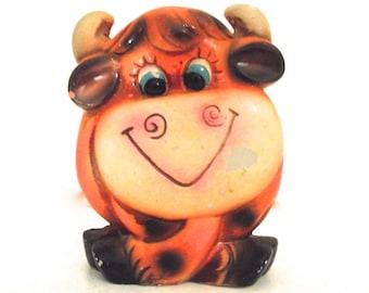 Vintage Bull or Cow Shaped Ceramic Piggy Bank in Neon Orange