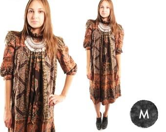 CASCADE 70s Brown Green Earthy Ruffle Collar Puff Sleeve Slouchy Prairie Retro Cotton Bohemian Dress Medium