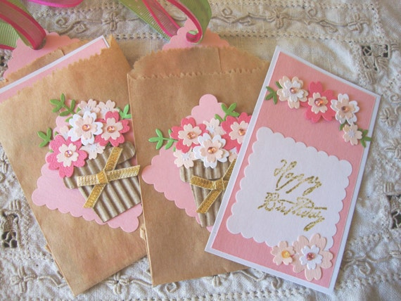Happy birthday gift tags pocket card tags pink floral pink and white