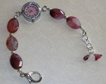 Pink/Fuschia Agate Watch/Bracelet