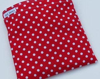 Reusable Eco Friendly Sandwich or Snack Bag Red Polka Dots