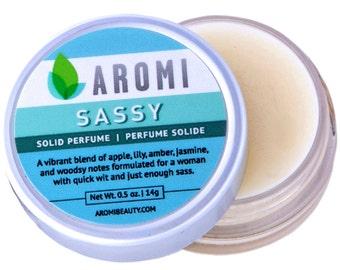 Sassy Solid Perfume. Fragrance. Parfum. Women's Perfume. Travel accessory. Gift for Her. Girl. Traveler. Shower favor. cruelty-free. vegan