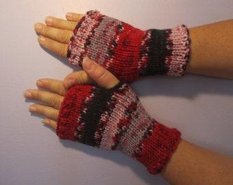Fingerless Gloves -  Red Black Grey White Striped Hand Knit Fingerless Gloves