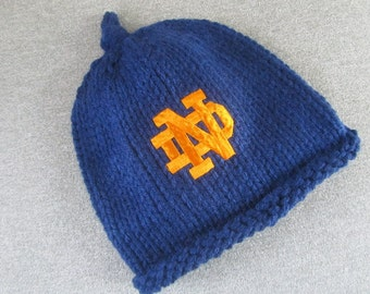 NOTRE DAME Hand Knit Baby Hat - Fighting Irish Knit Hat - Notre Dame Hand Knitted Baby Hat