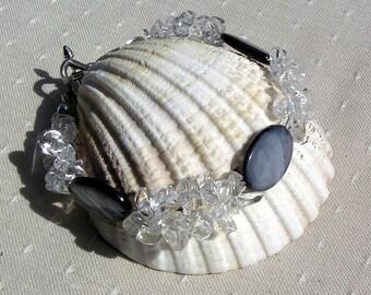 "Crystal Gemstone Bracelet, Black Mother of Pearl & Clear Quartz ""Black Ace"", Quartz Bracelet, Chakra Bracelet, Shell Bracelet Black Bracelet"