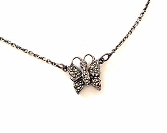 sterling marcasite butterfly necklace sterling silver pendant chain necklace sterling 925