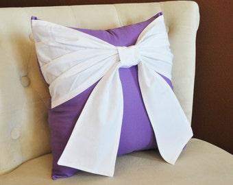 Throw Pillow -- White Bow on Lavender Pillow 14x14 Purple Decorative Pillow