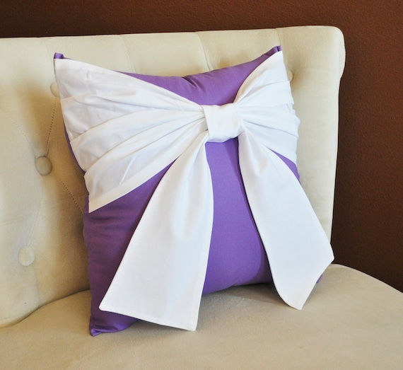 Throw Pillow With Bow : Items similar to Throw Pillow -- White Bow on Lavender Pillow 14x14 Purple Decorative Pillow on Etsy