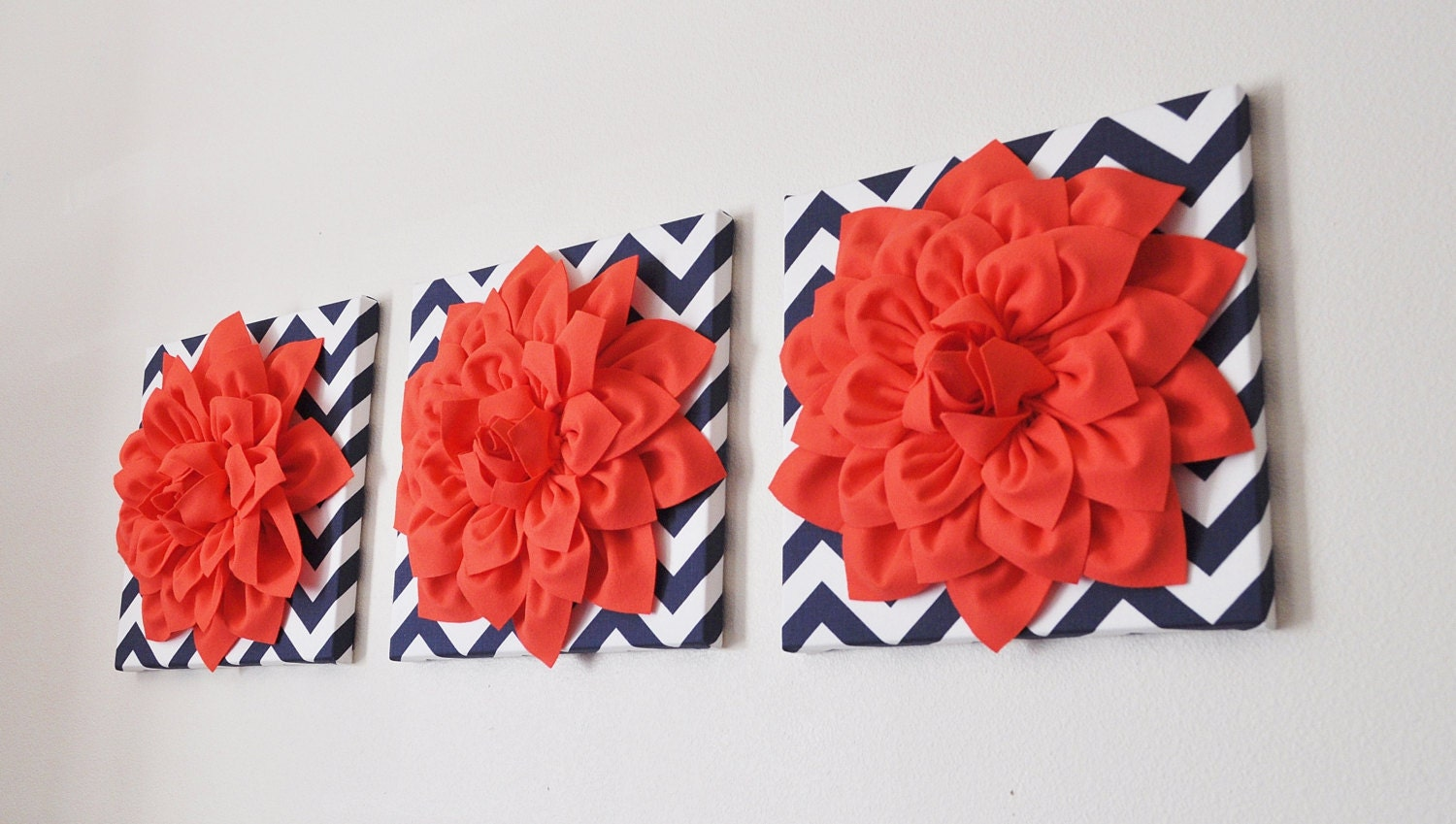 Home decor wall hanging set of three coral dahlia on navy and for Coral decorations for home