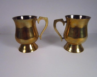 Set of Matching Vintage Brass Mugs